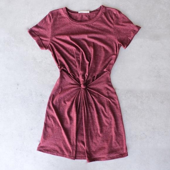 i joah Dresses & Skirts - knotted t shirt dress burgundy short sleeve